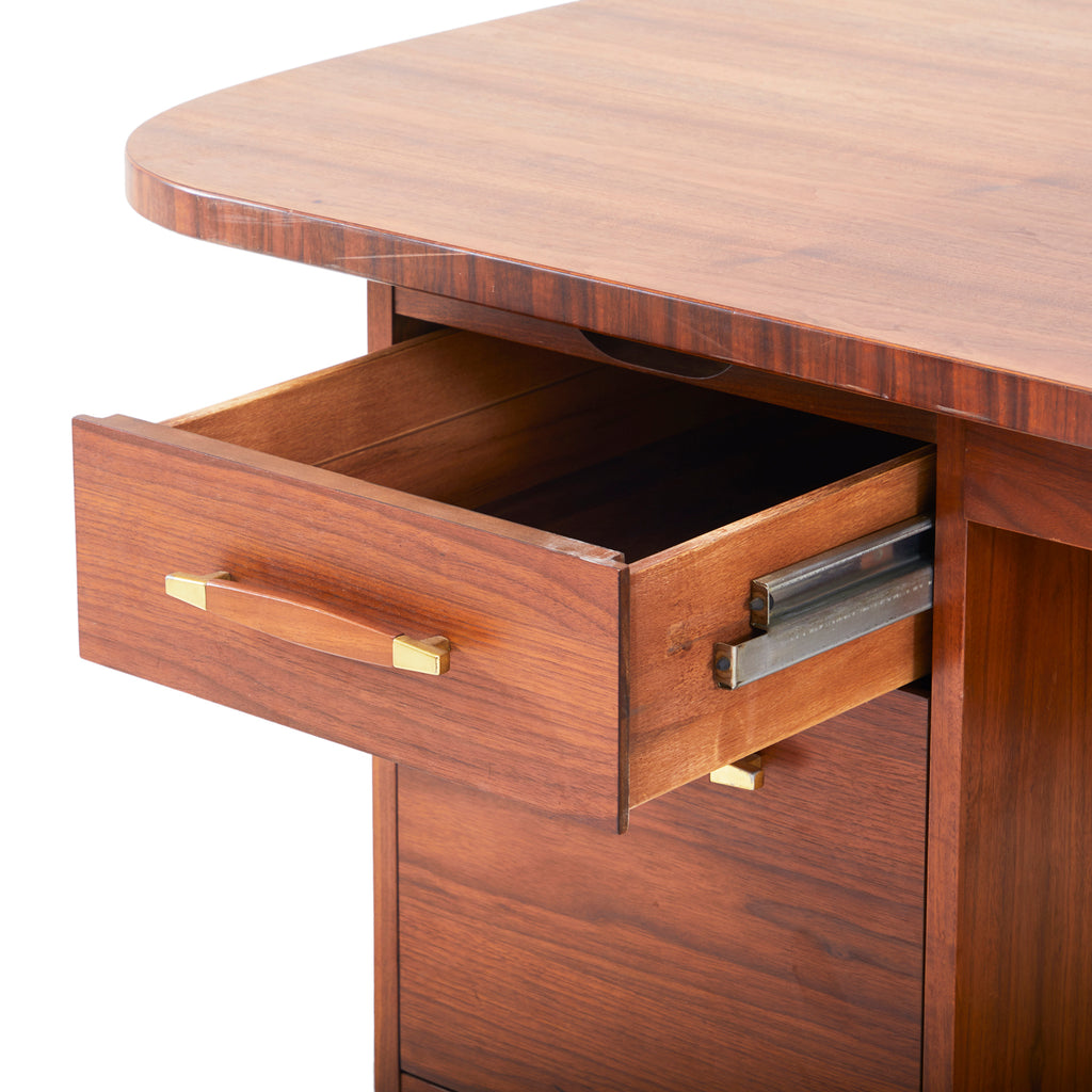 Modern Wood Executive Desk with Brass Pulls