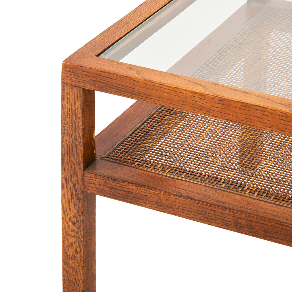 Square Wood and Glass Side Table