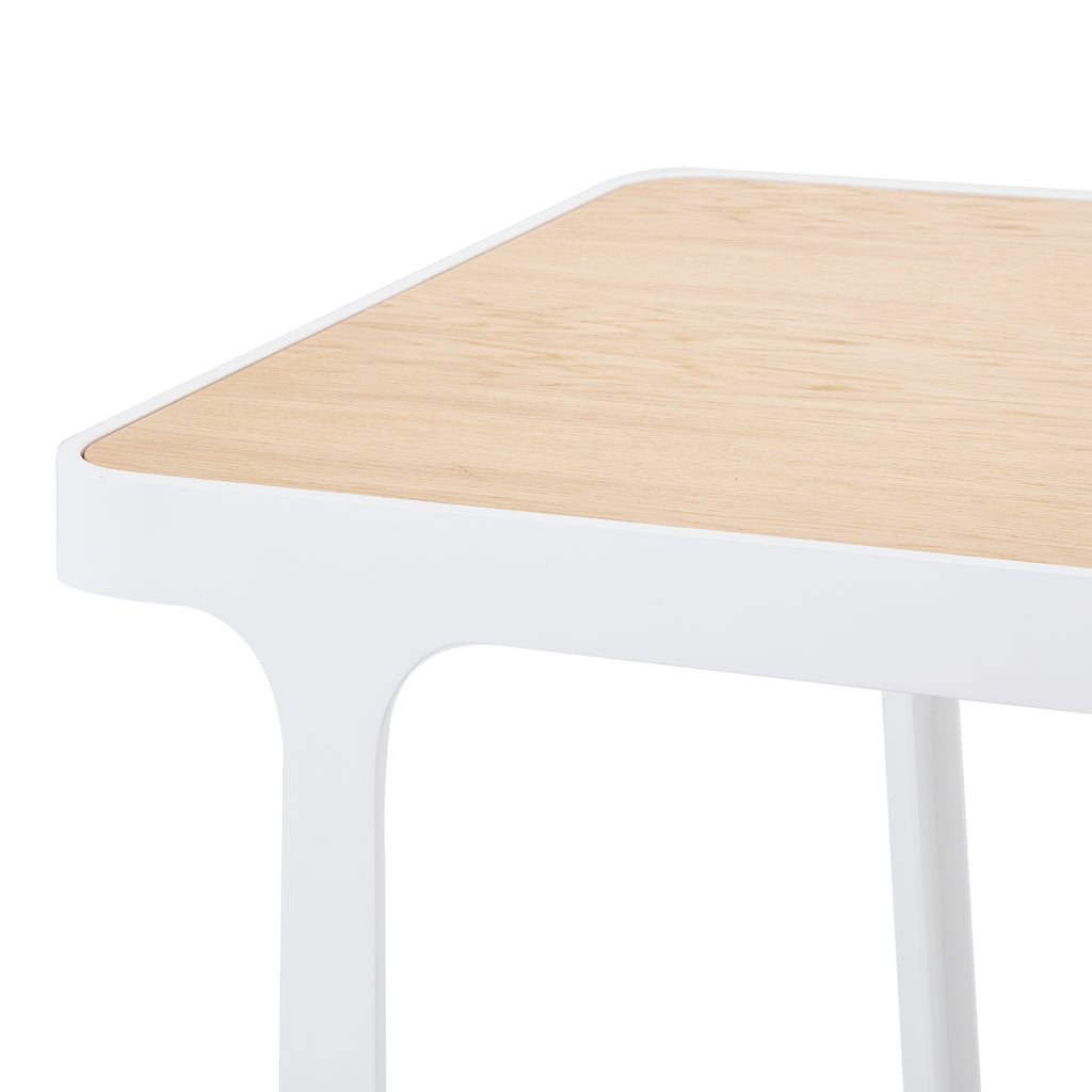 Wood and White Frame Standing Wood Desk Table