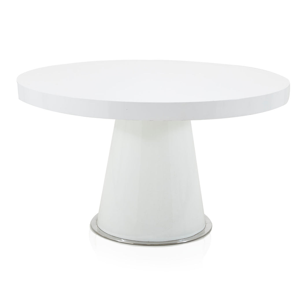 All White Pedestal Round Dining Table