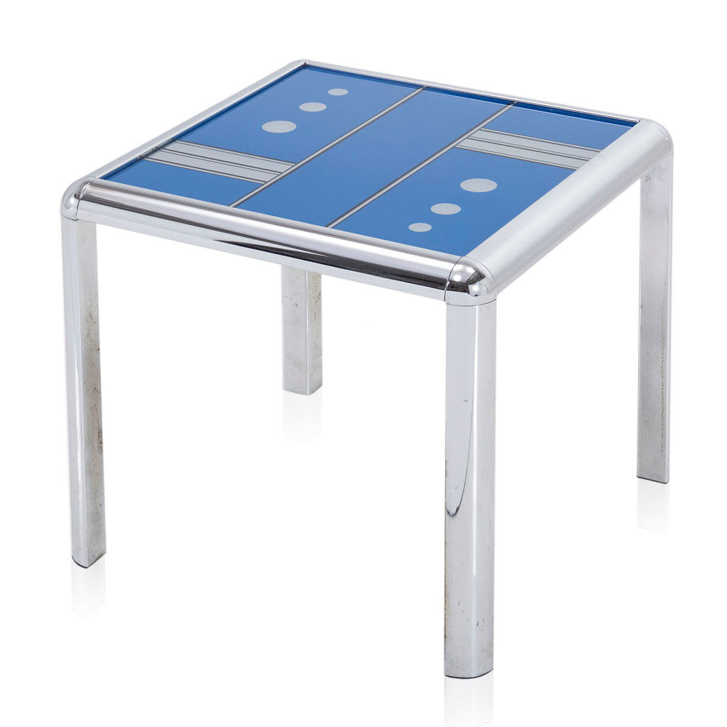 Blue Domino Metal End Table