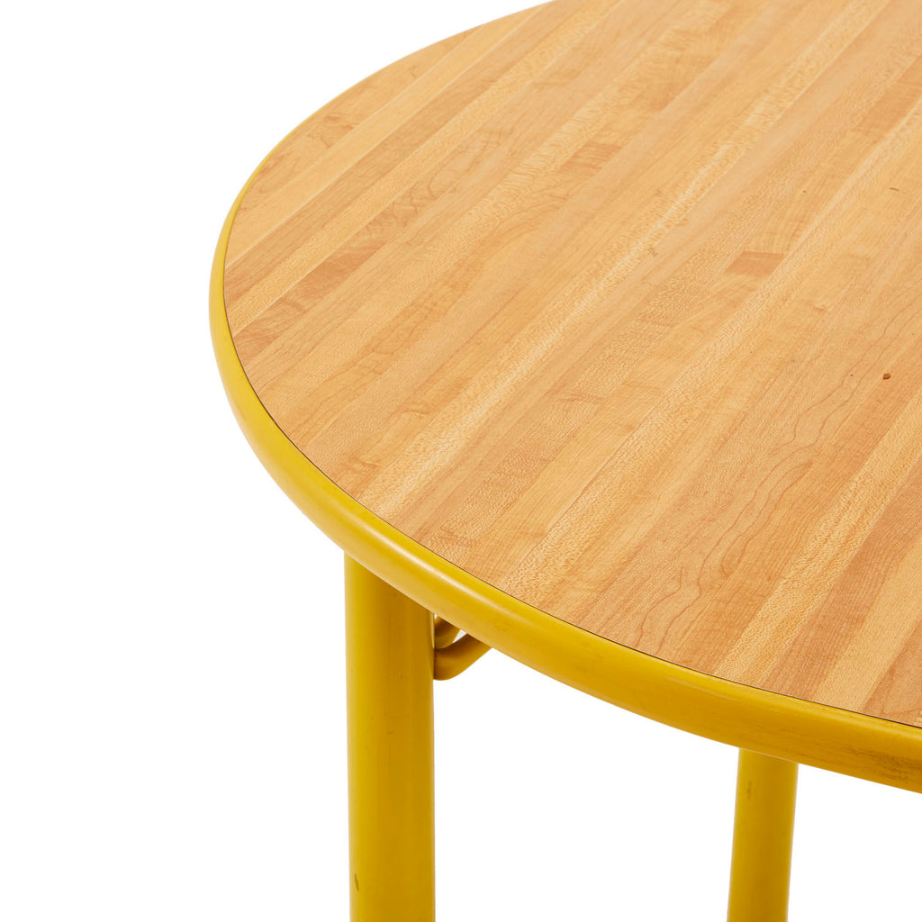 Oval Mid-Century Yellow + Wood Kitchen Table