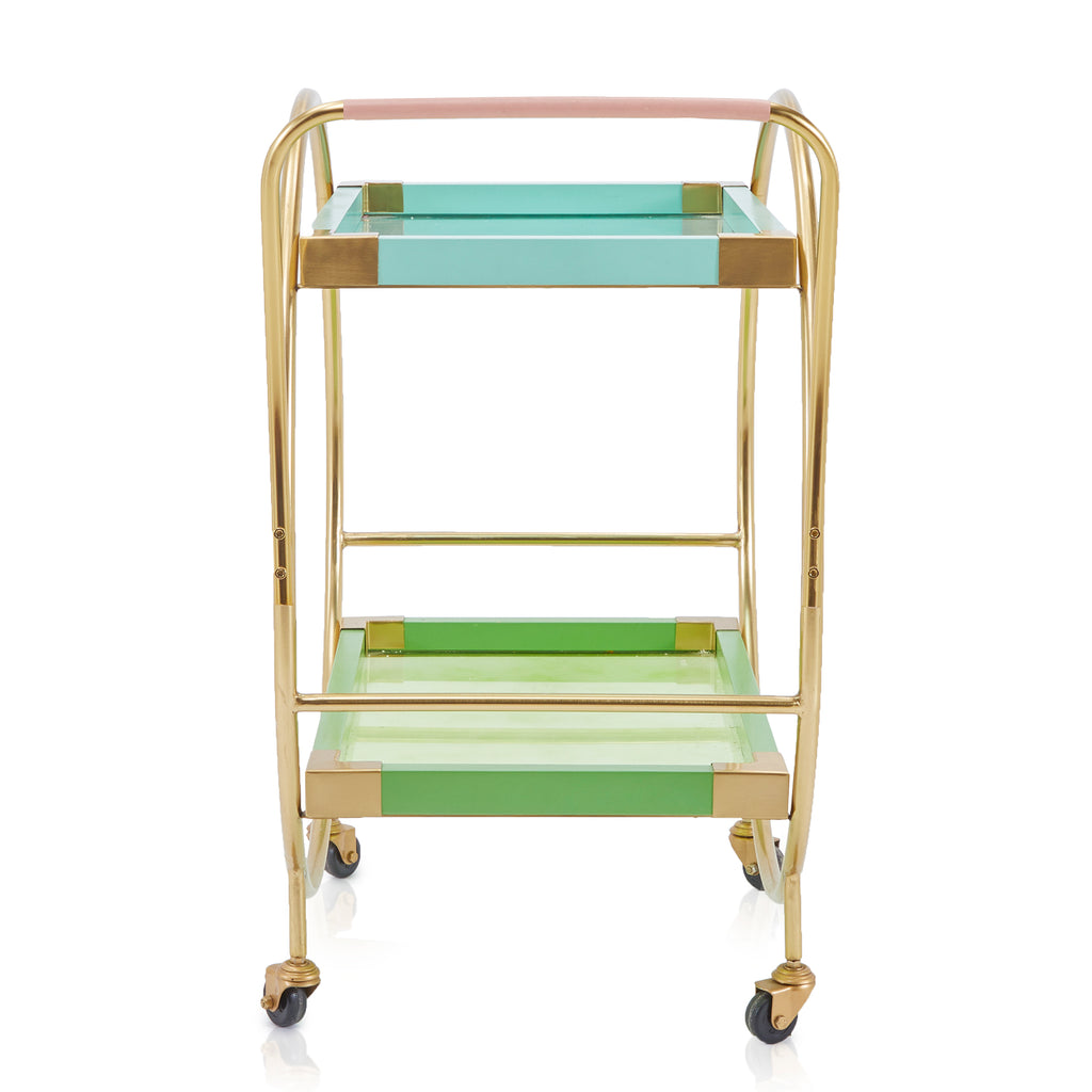 Aqua Gold Circle Bar Cart