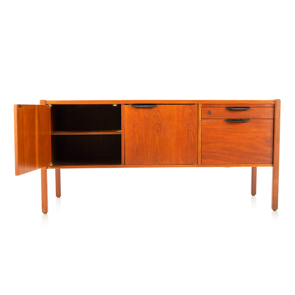 Wood Credenza with Black Handles