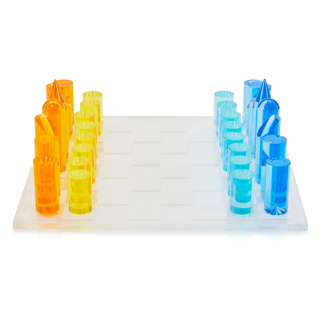 Orange Blue Acrylic Chess Set