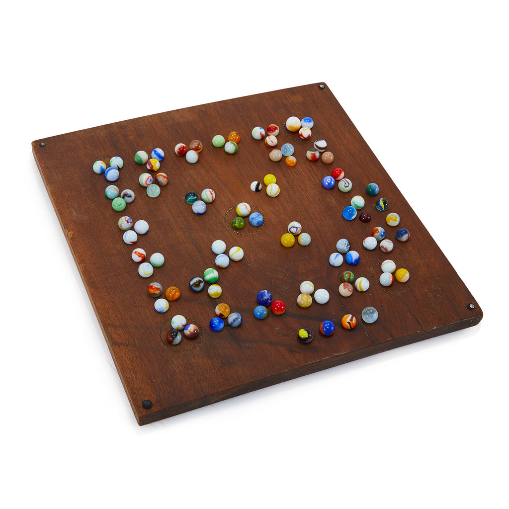 Wood Game Board with Marbles