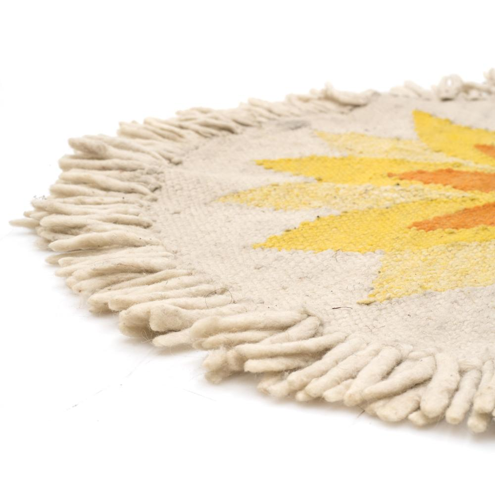 Circular Sun Rug with Fringes