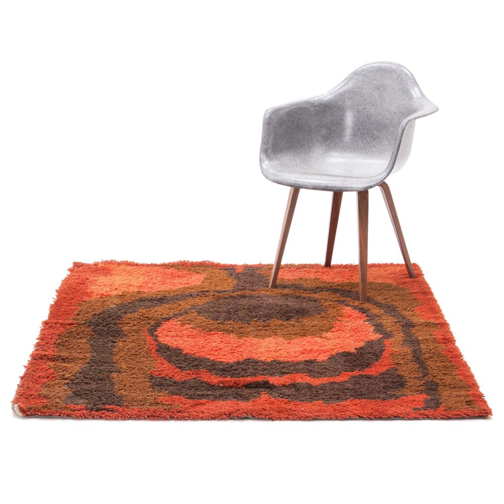 Red Flame Rectangular Rug