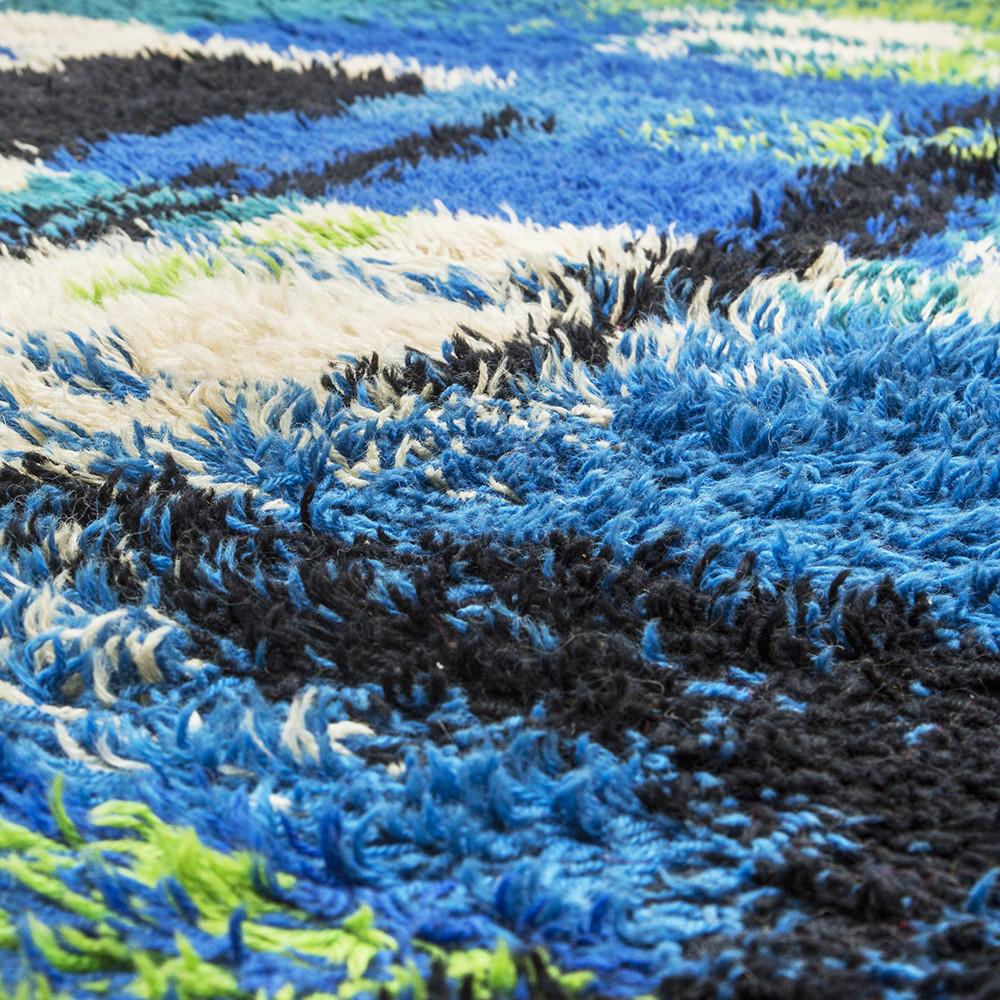 Blue and Green Shag Rug