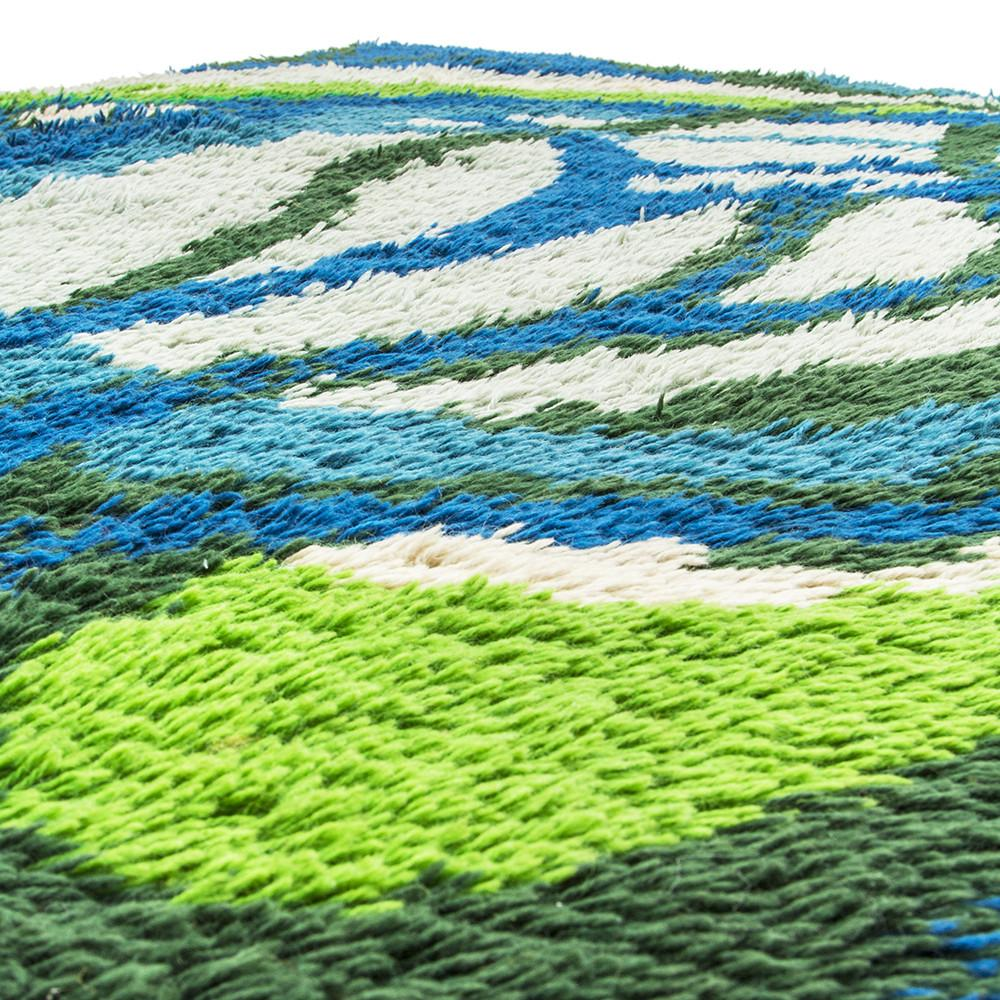 Blue and Green Branch Design Rug