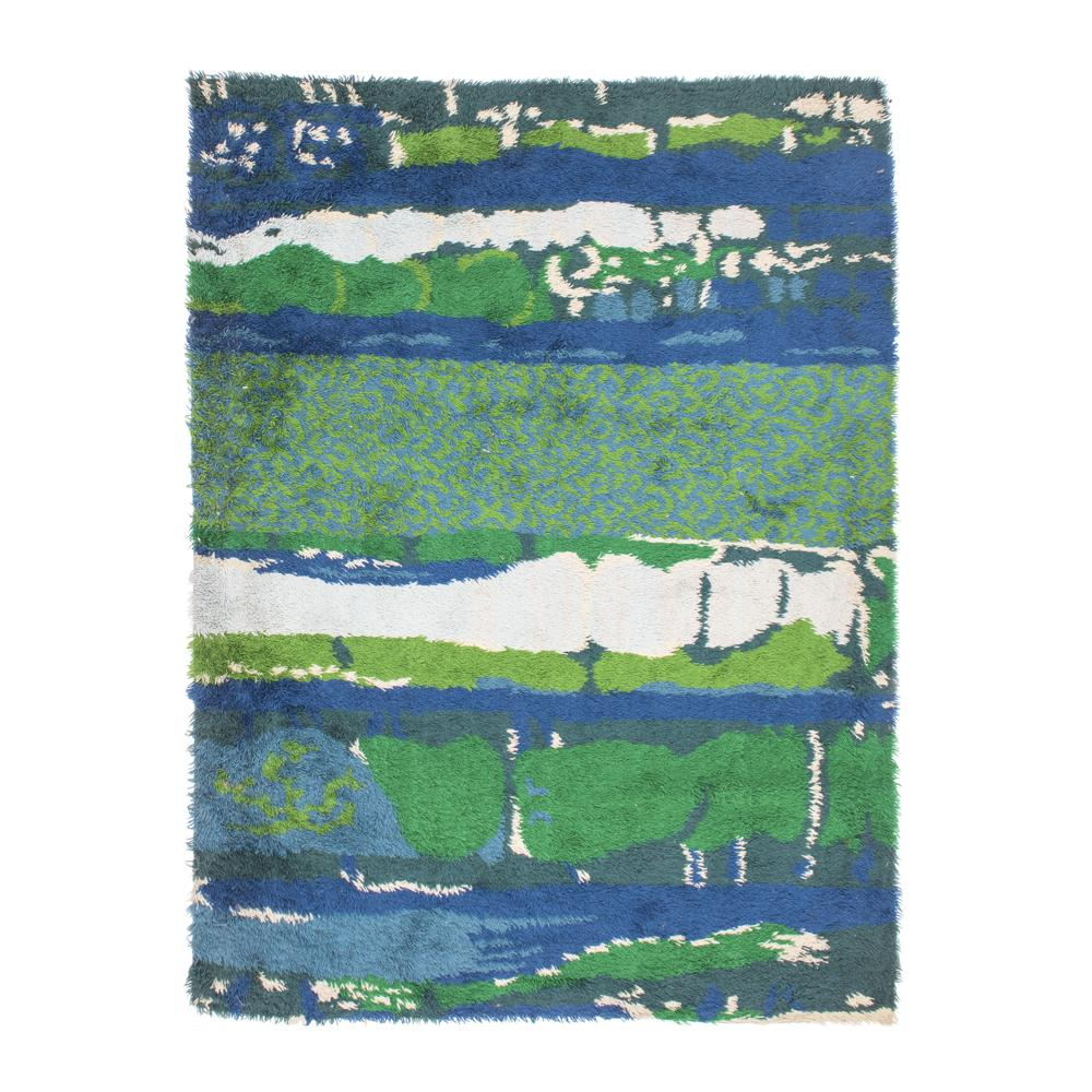 Blue and Green Shapes Rug