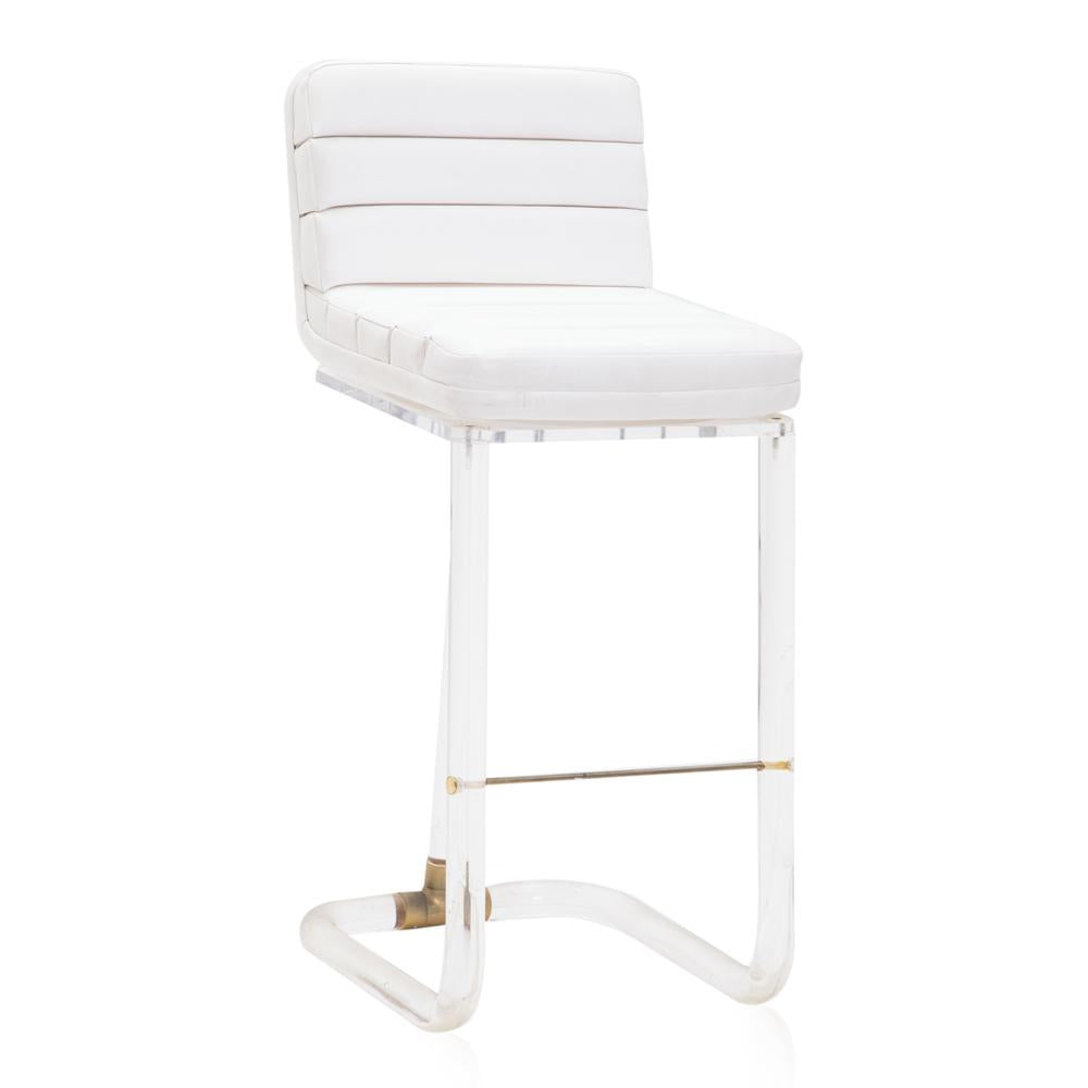Lucite + White Leather Barstool