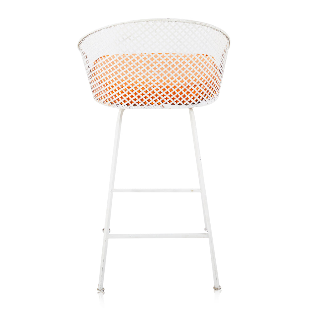 White Mesh Stool with Orange Seat