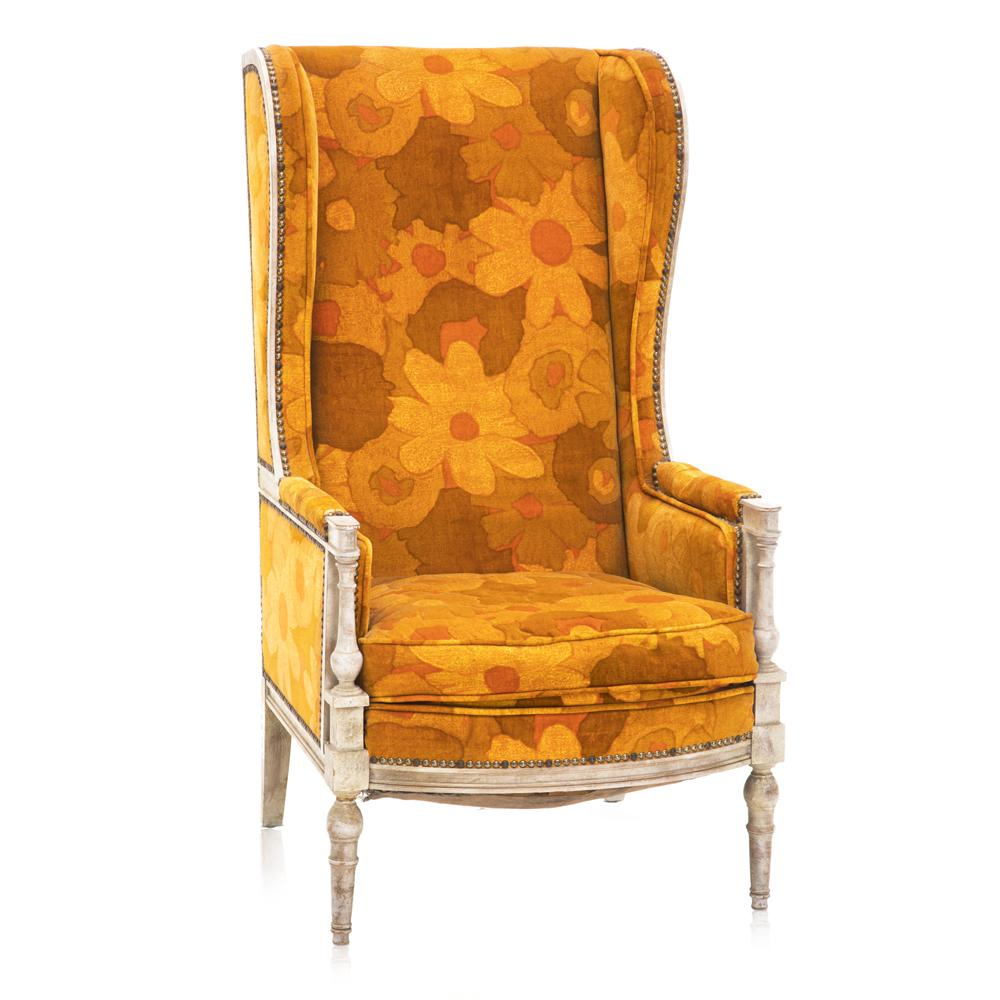 Orange Flower Hi-Back Chair