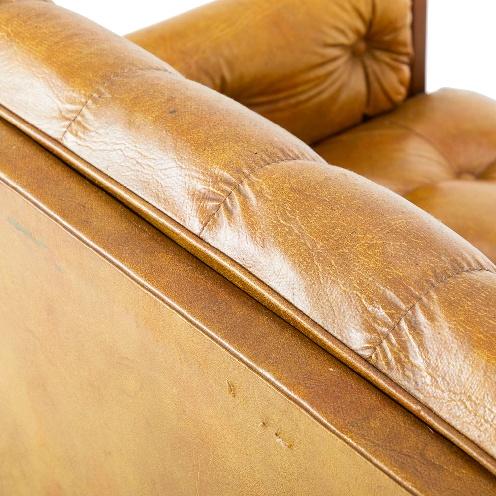 Brown Leather Tufted Love Seat