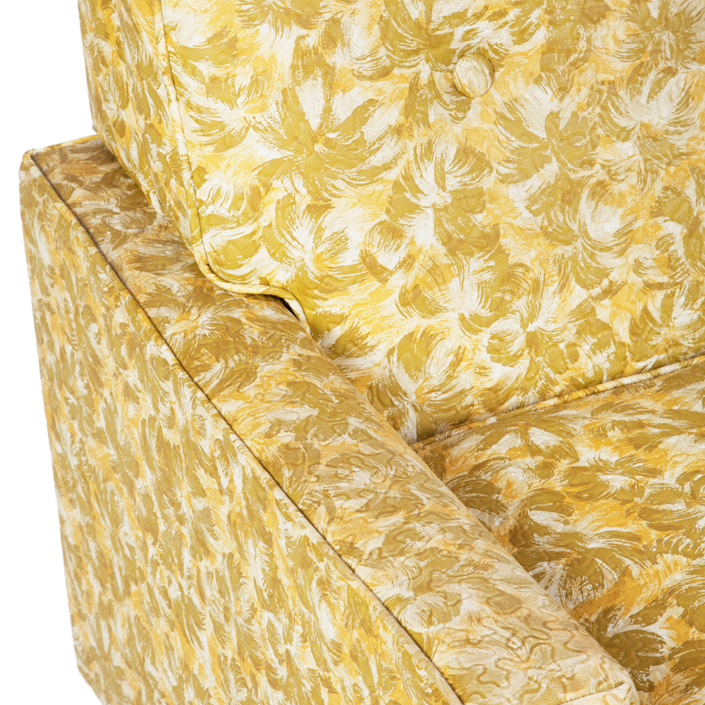 Green-Yellow Floral Vinyl Love Seat