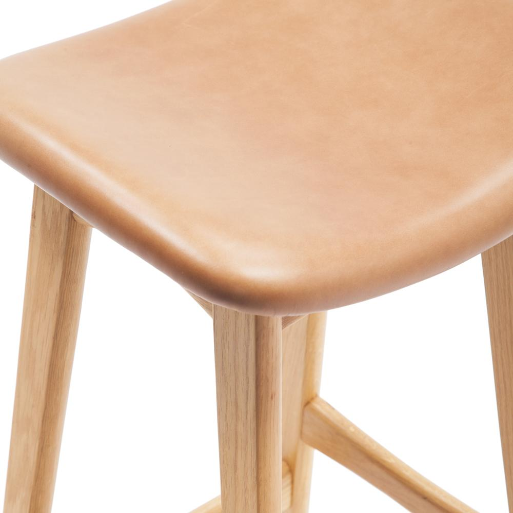 Light Wood Bar Stool with Camel Leather Seat