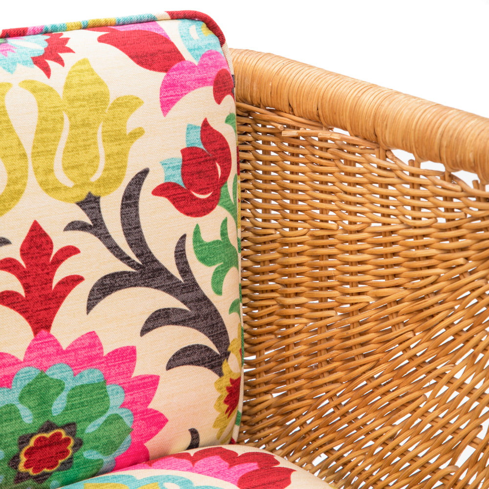Floral Wicker Armchair