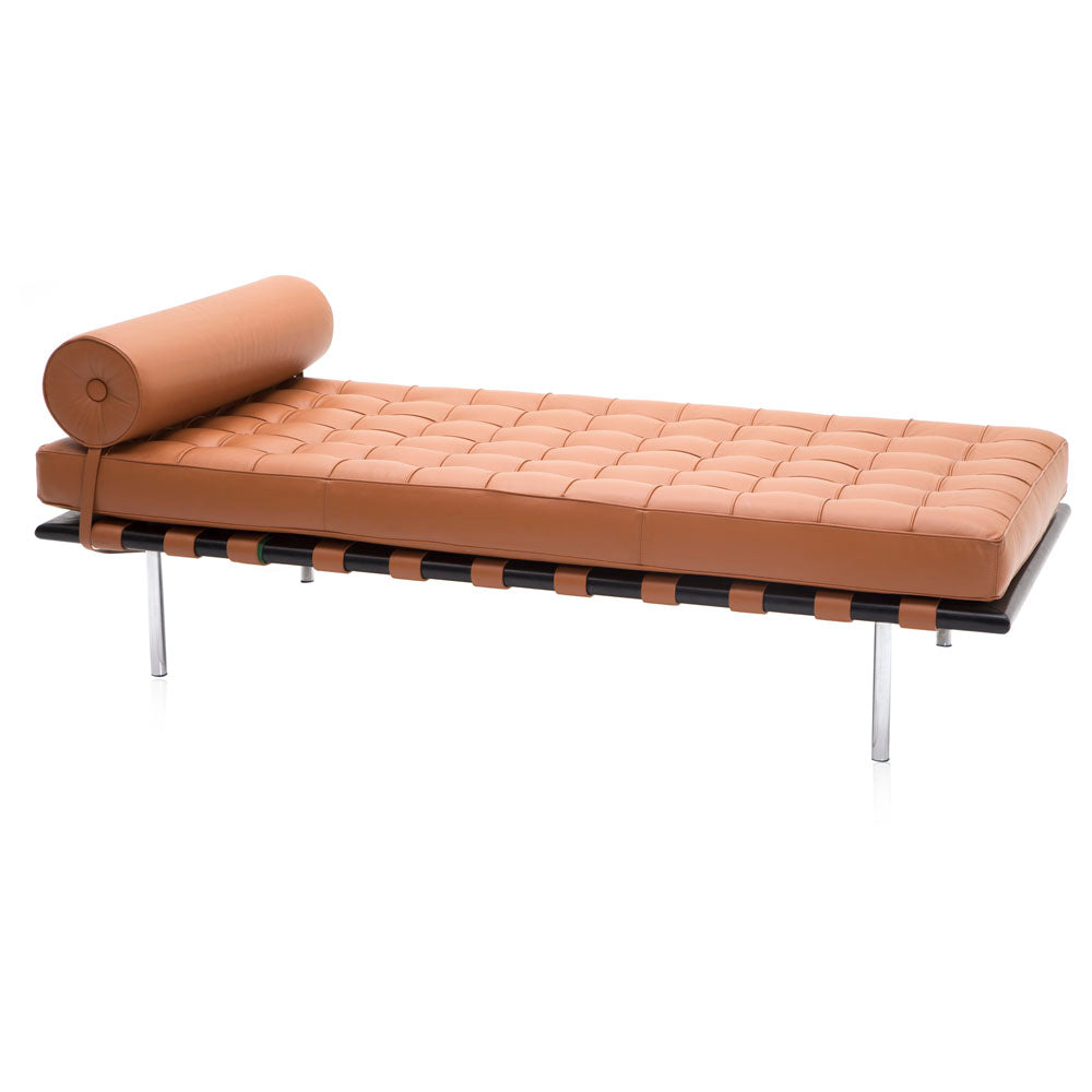 Caramel Leather Chaise