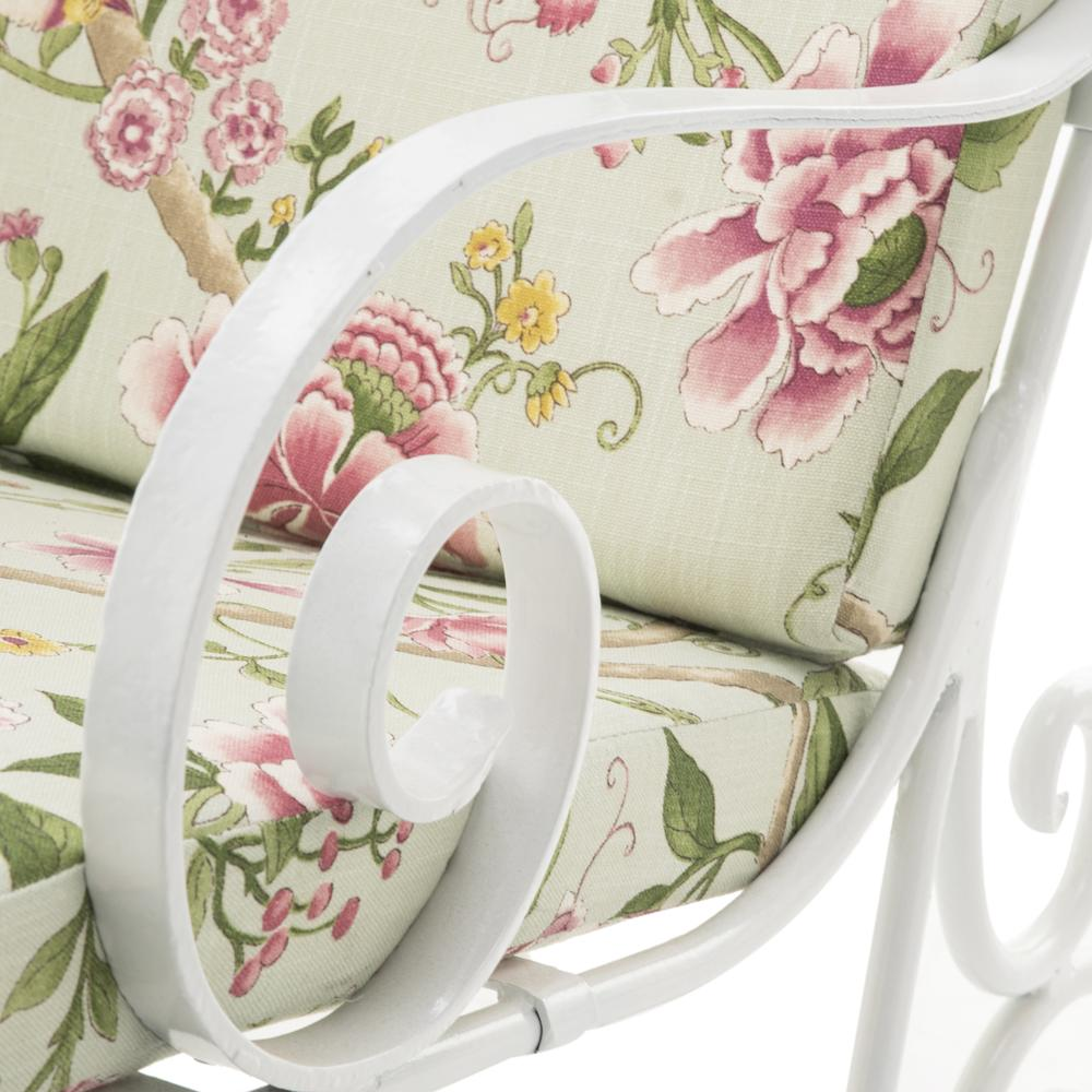White Iron Scroll Floral Cushion Chaise Lounge