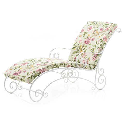 White Scroll Floral Iron Chaise