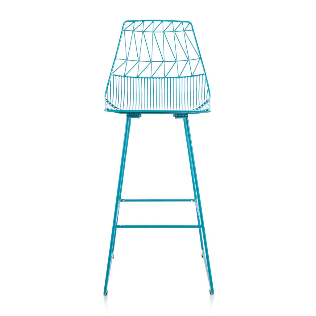 Turquoise Metal Wire Stool