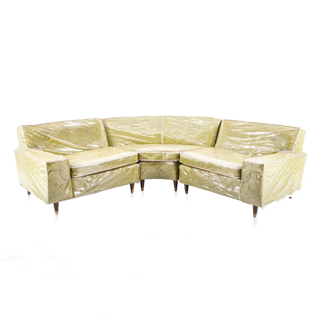 Plastic Covered Green Sectional Sofa