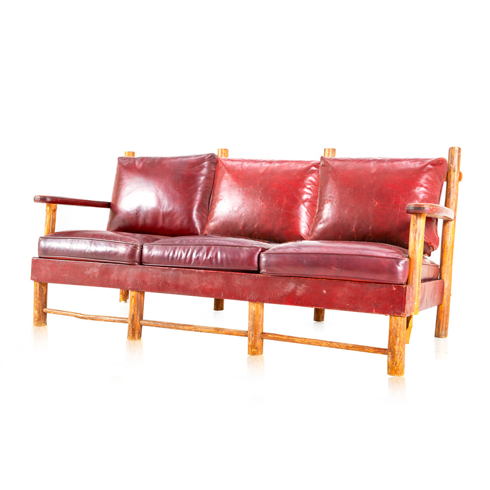 Rustic Red Leather Sofa