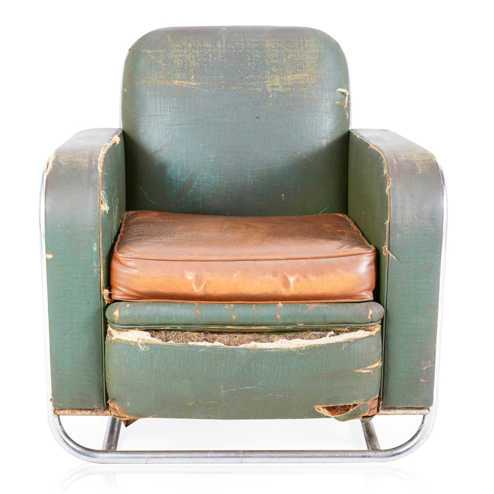 Distressed Green Leather Armchair - Modernica Props