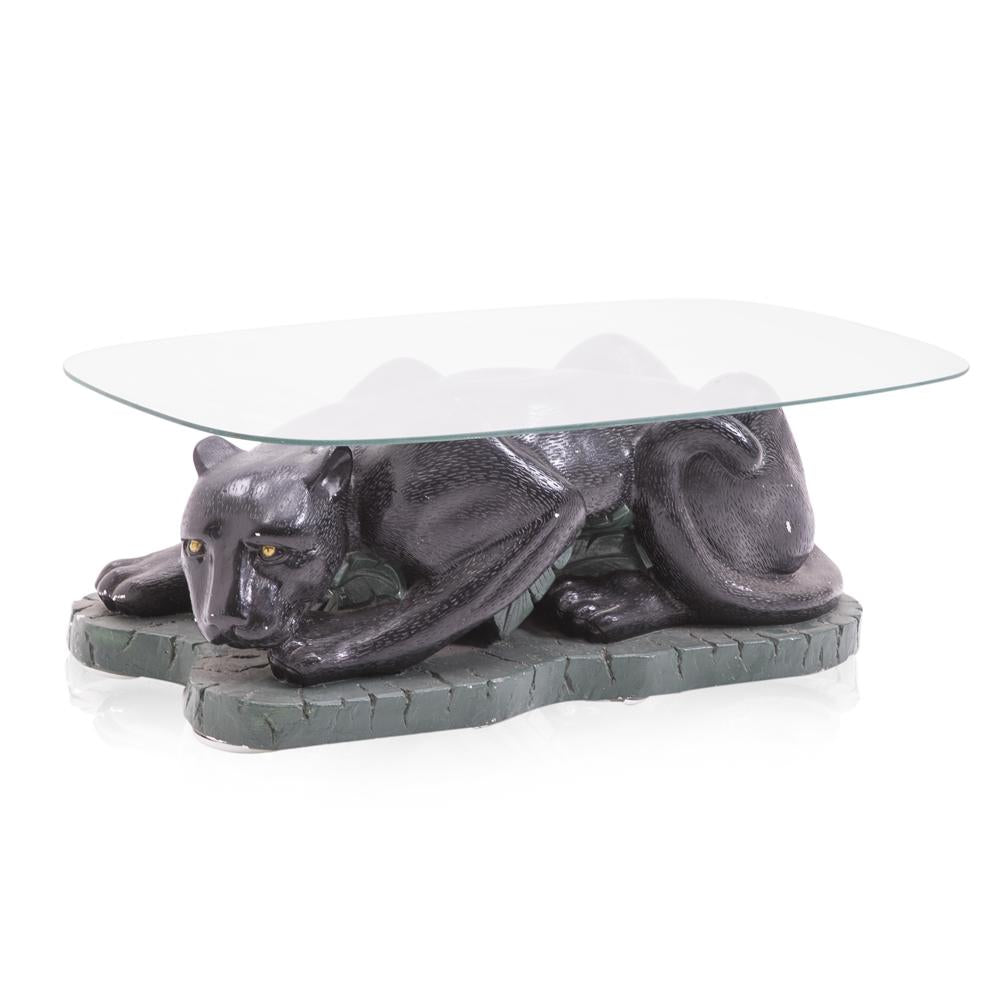 Black Panther Glass Top Coffee Table