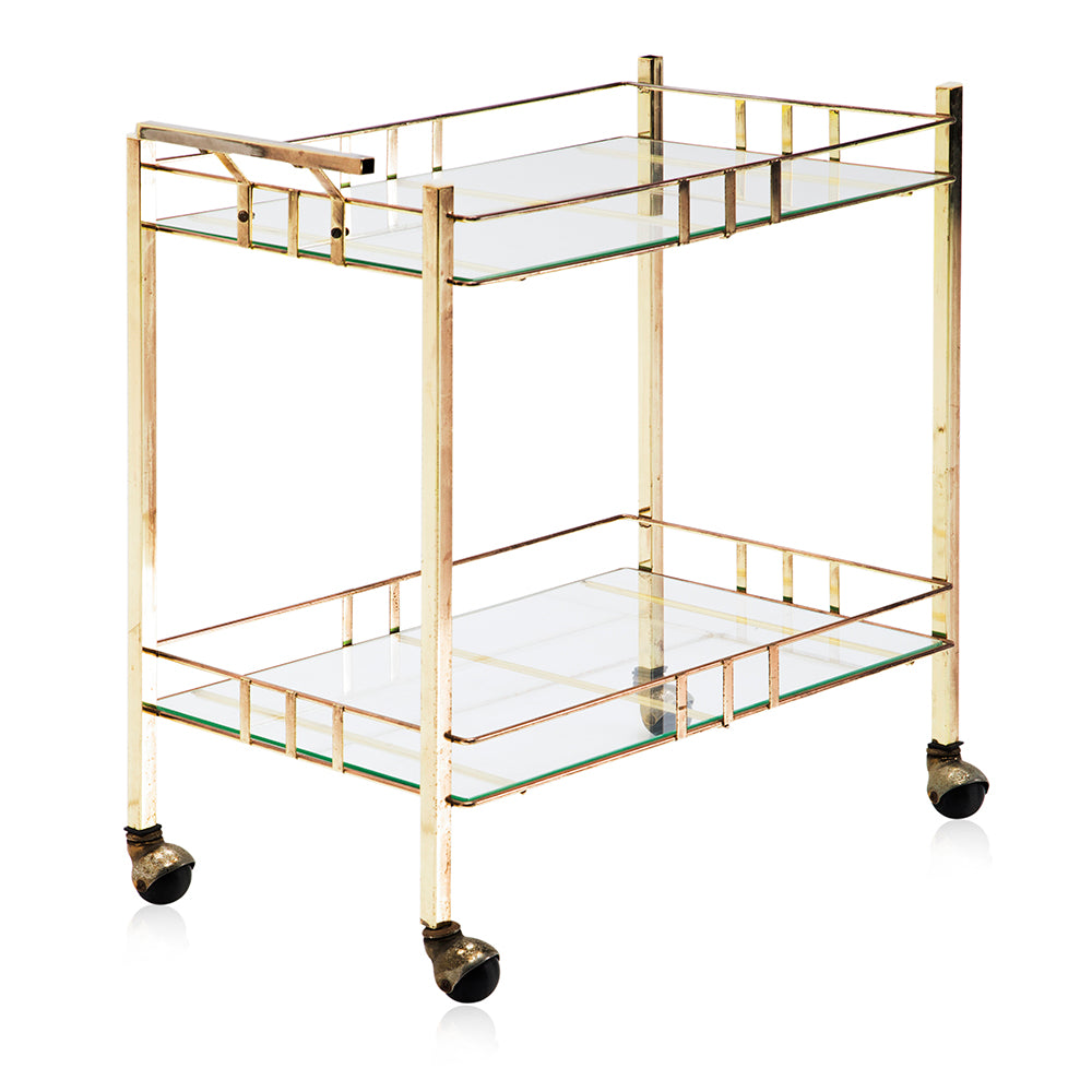 Gold Rectangle Rolling Cart
