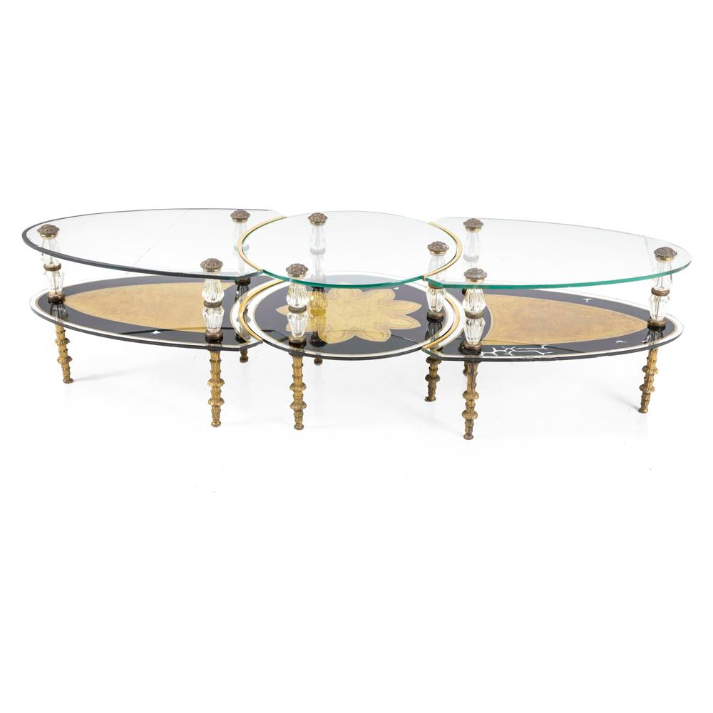 Ornate Black Gold Glass 3-Piece Coffee Table