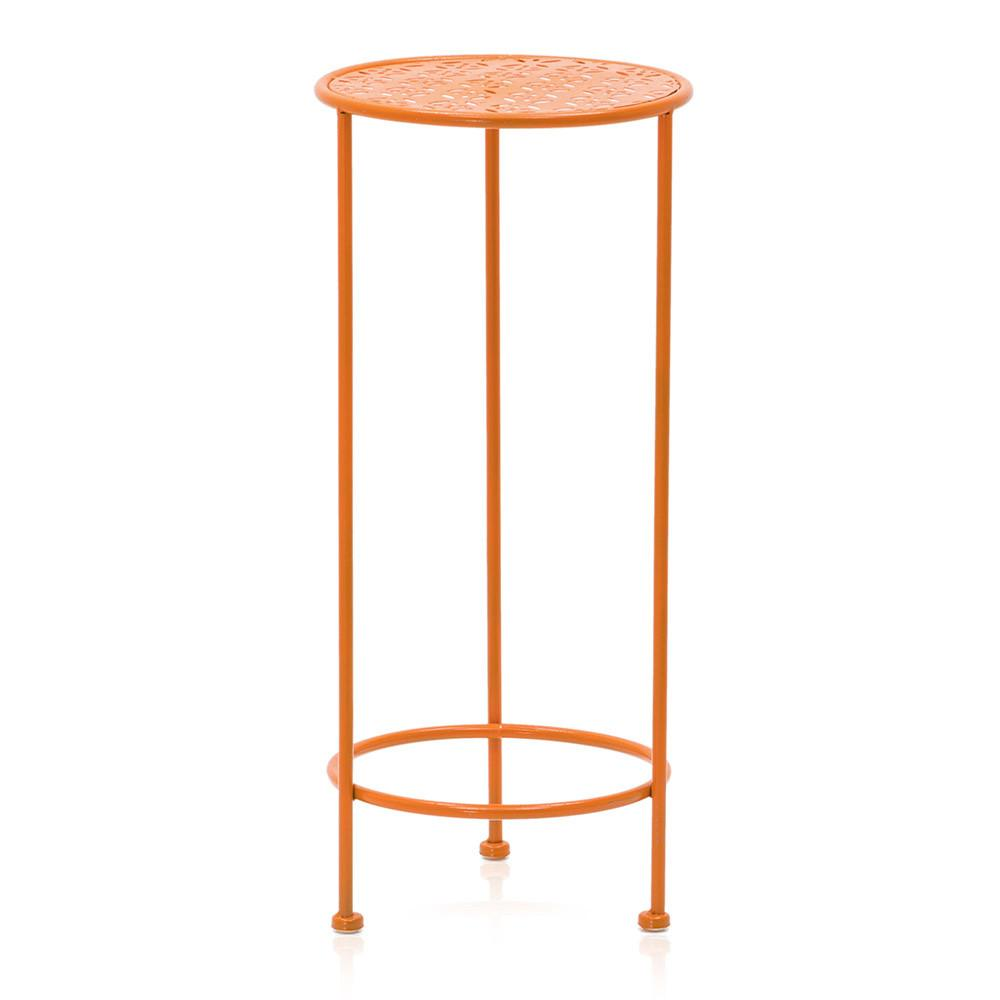 Aqua Blue and Orange Three Tier Metal Side Table Set