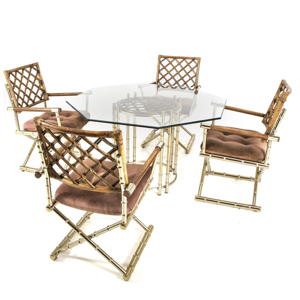 Brass Bamboo Dining Arm Chair