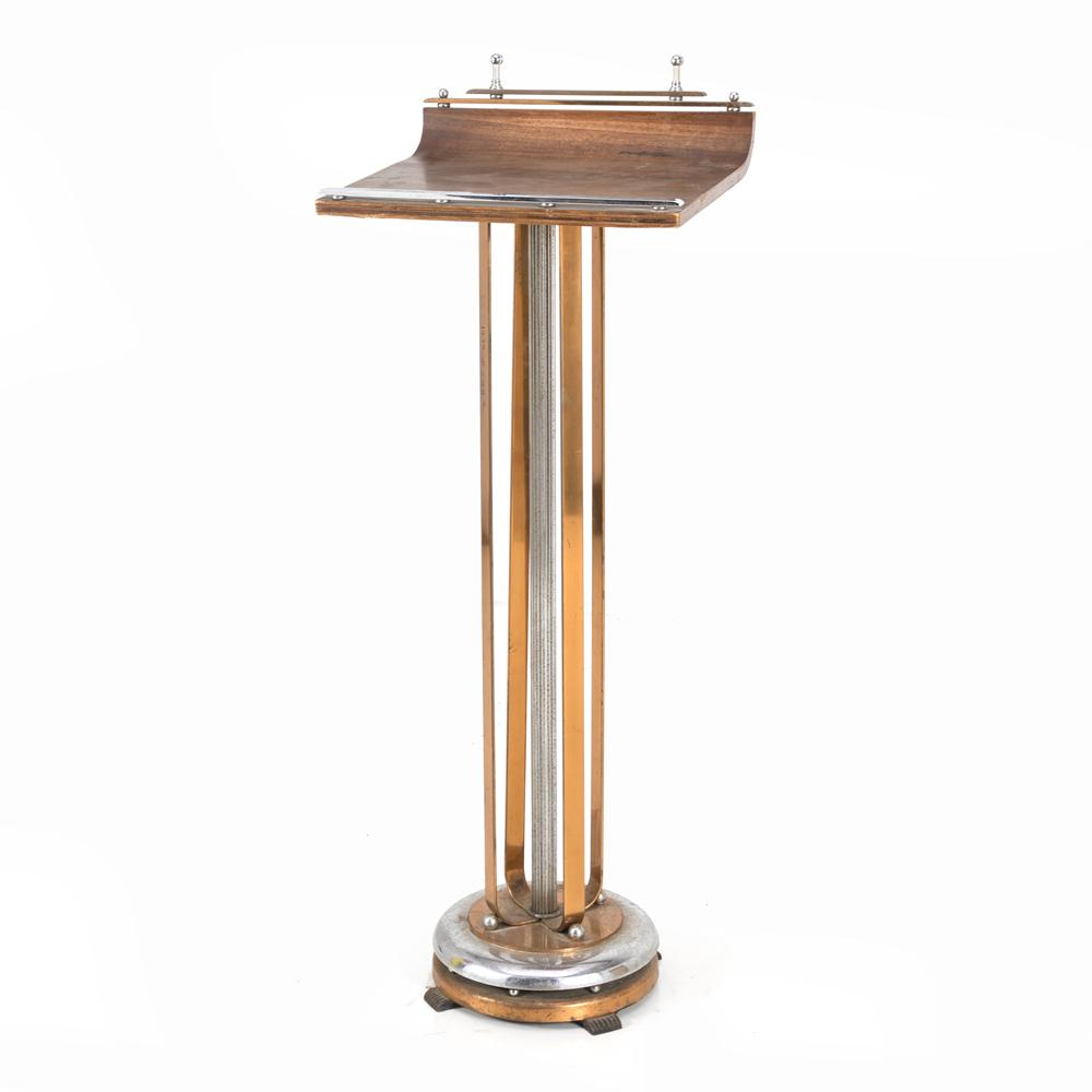 Wood and Bronze Metal Podium