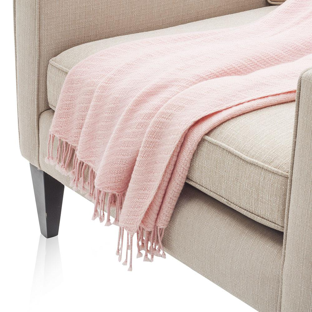 Baby Pink Patterned Throw
