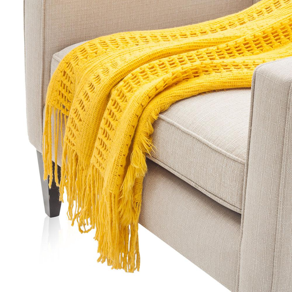 Bright Yellow Knit Throw