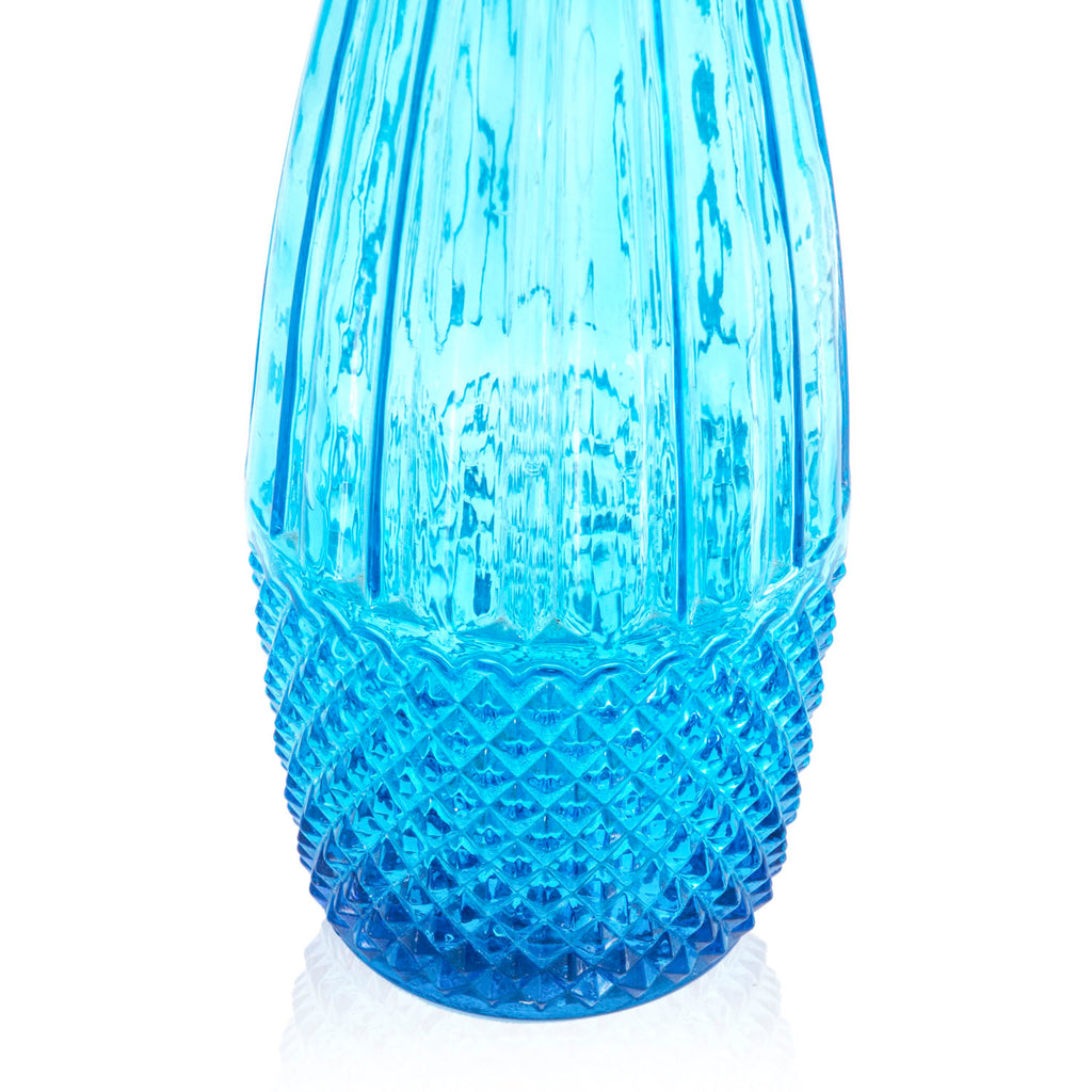 Blue Cut Glass Teardrop Vase with Lid