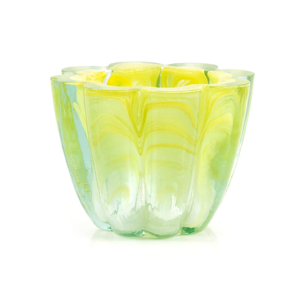 Yellow BFA Scalloped Glass Vase