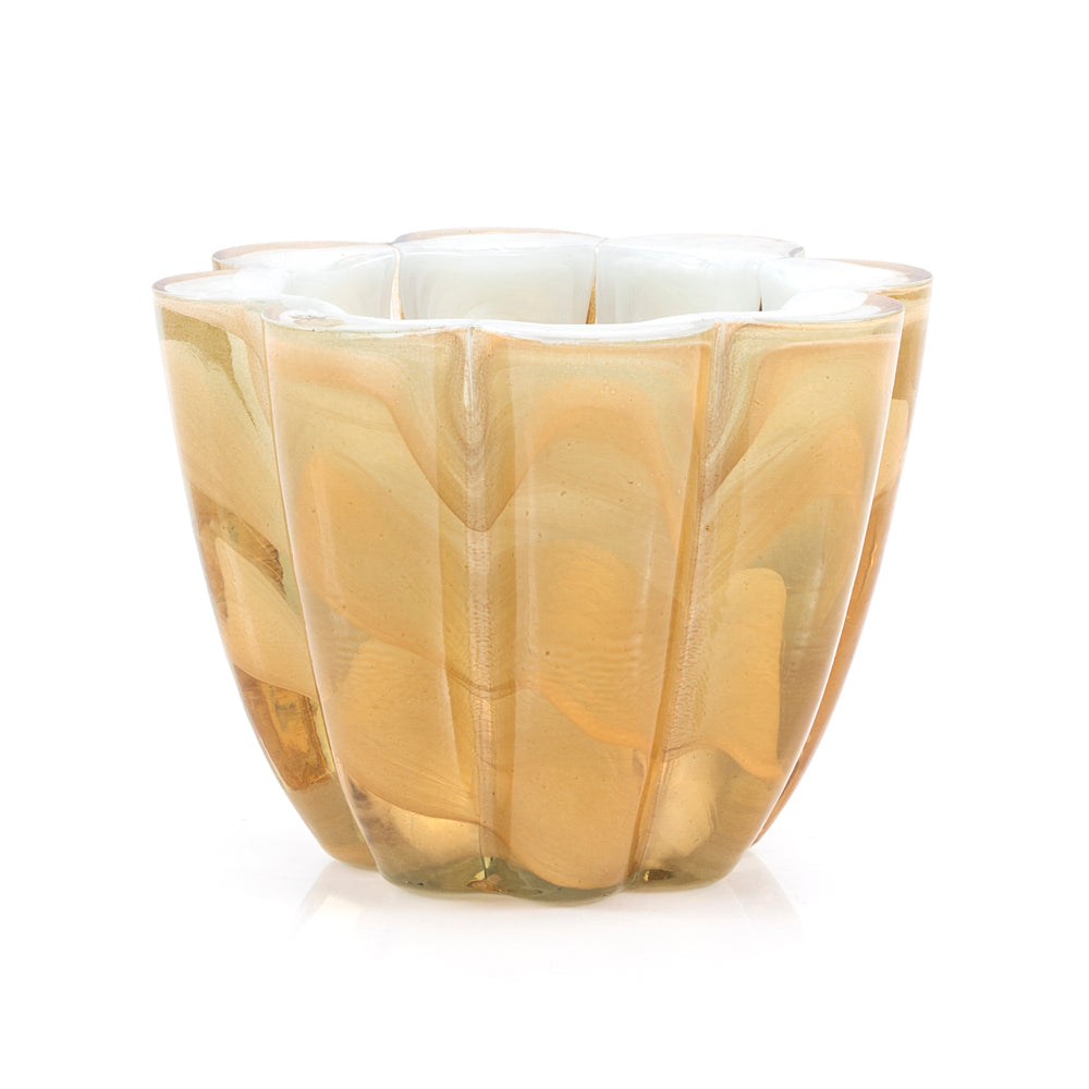 Tan BFA Scalloped Glass Vase