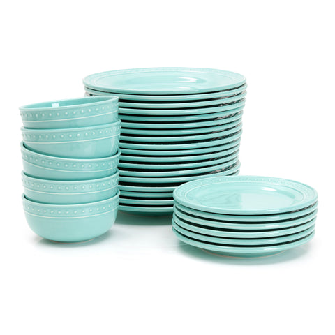 Aqua Ceramic Plates and Bowls