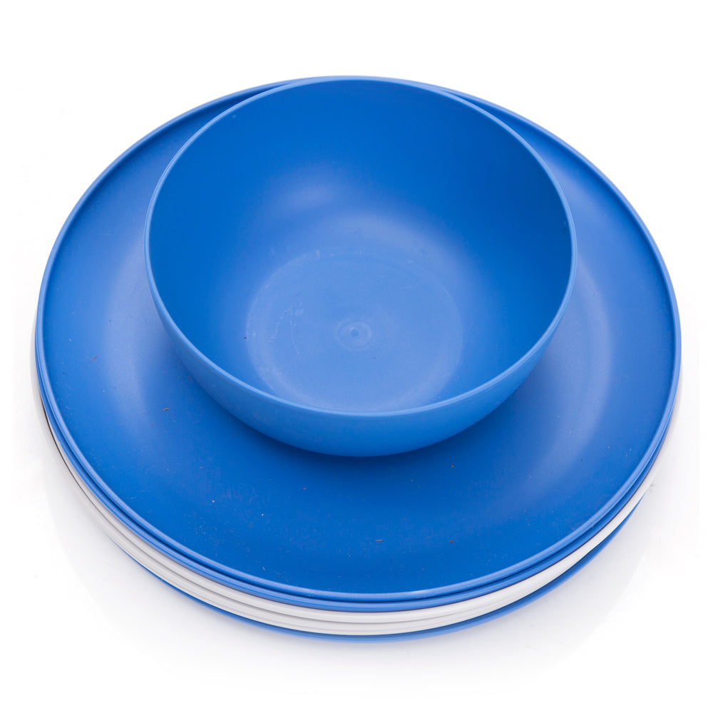 Blue and White Plastic Bowl and Plate Set