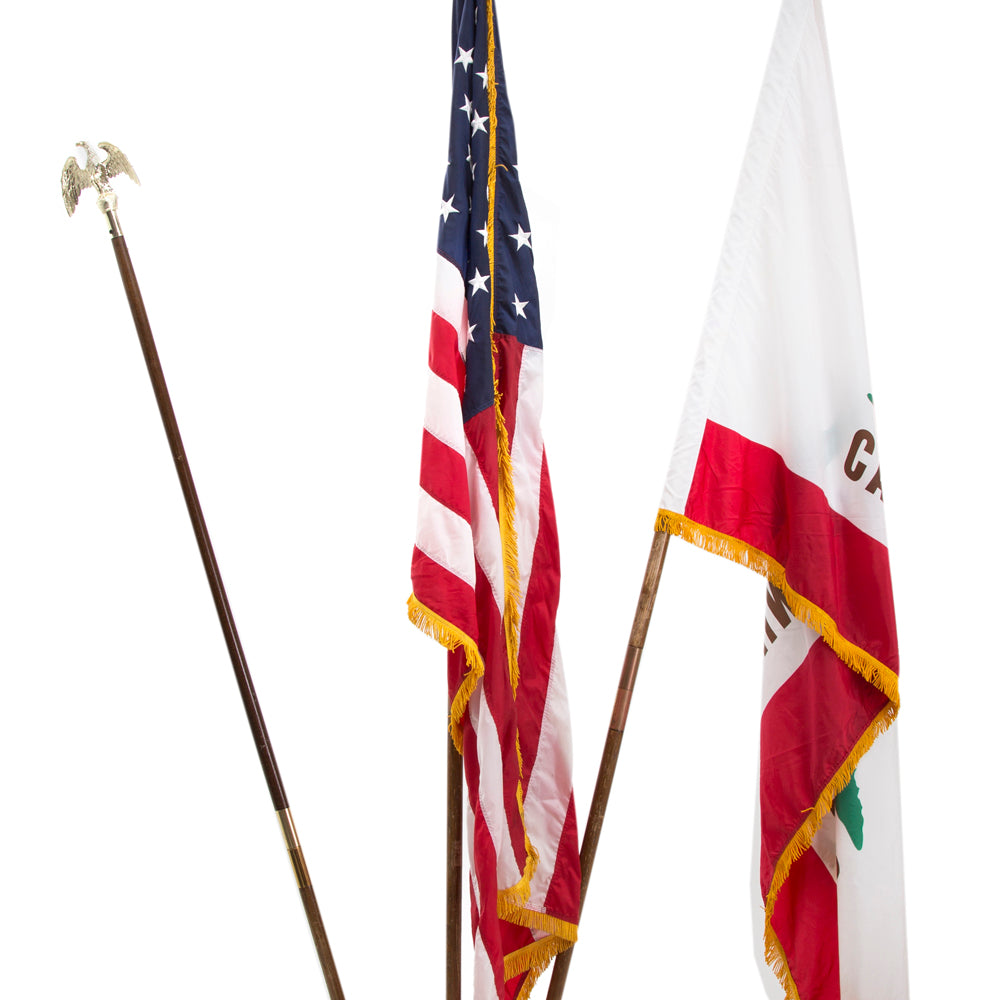 American and California State Flag Stand
