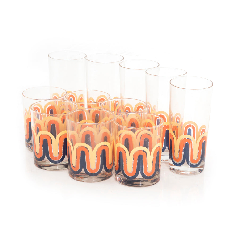 70s Orange Waves Rocks and Highball Glass