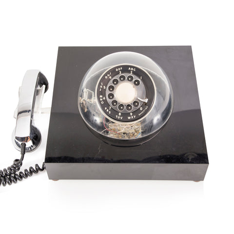 Black and Silver Rotary Phone with Clear Dome