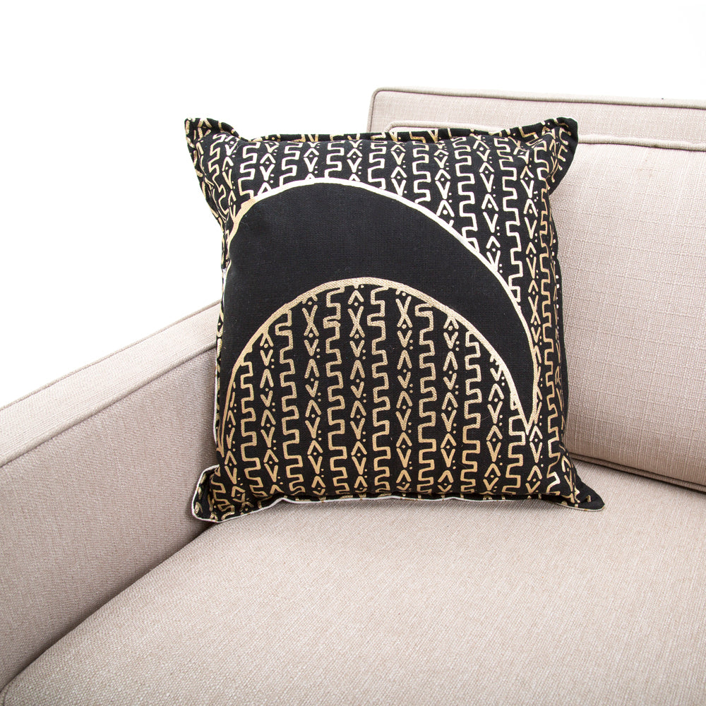 Black + Gold Moon Design Pillow