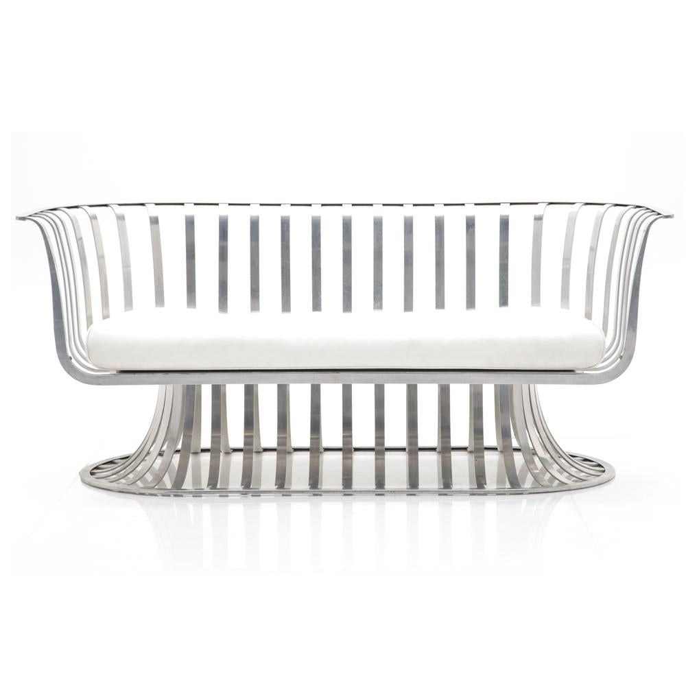 Aluminum Loveseat w White Cushion