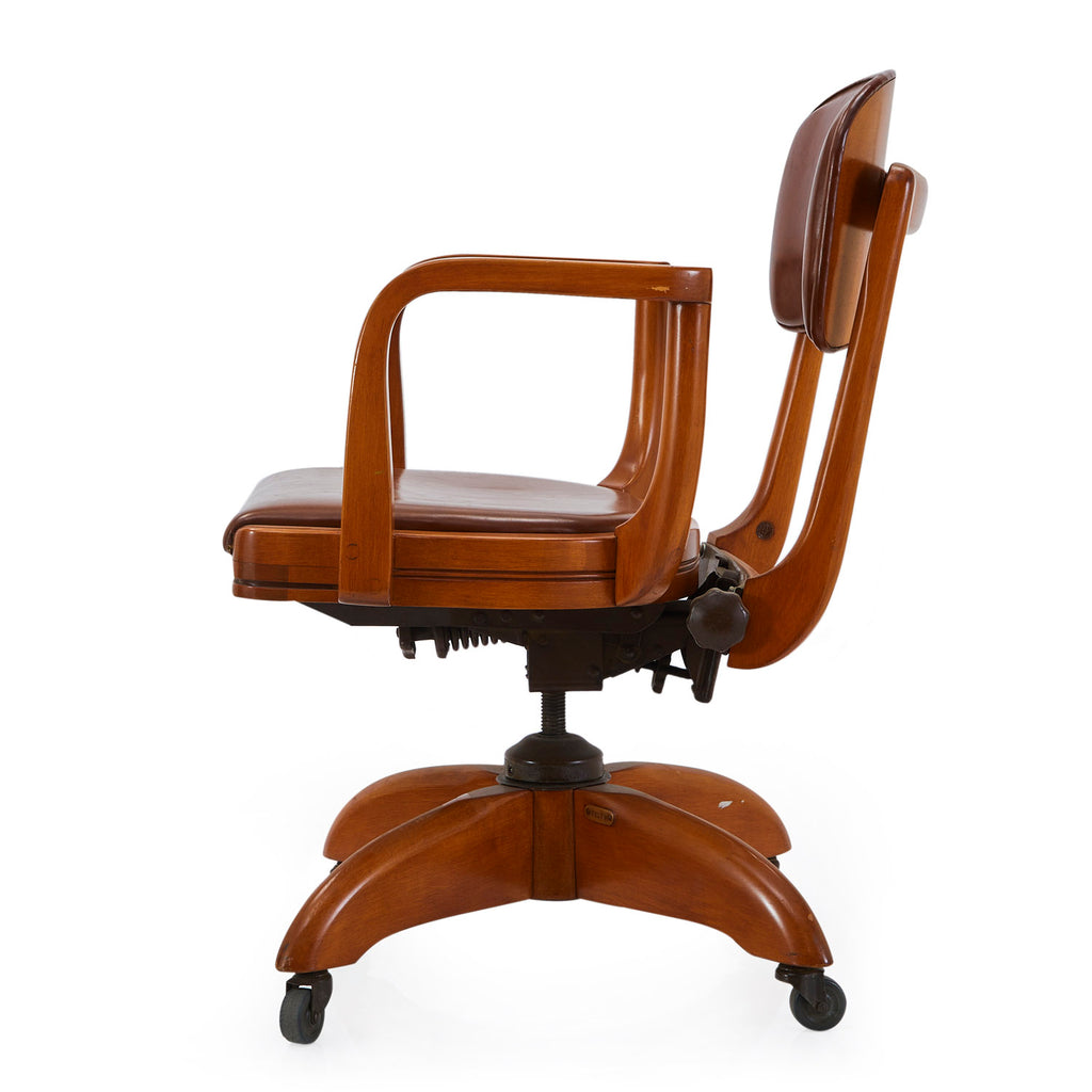 Caramel Leather Wood Office Chair