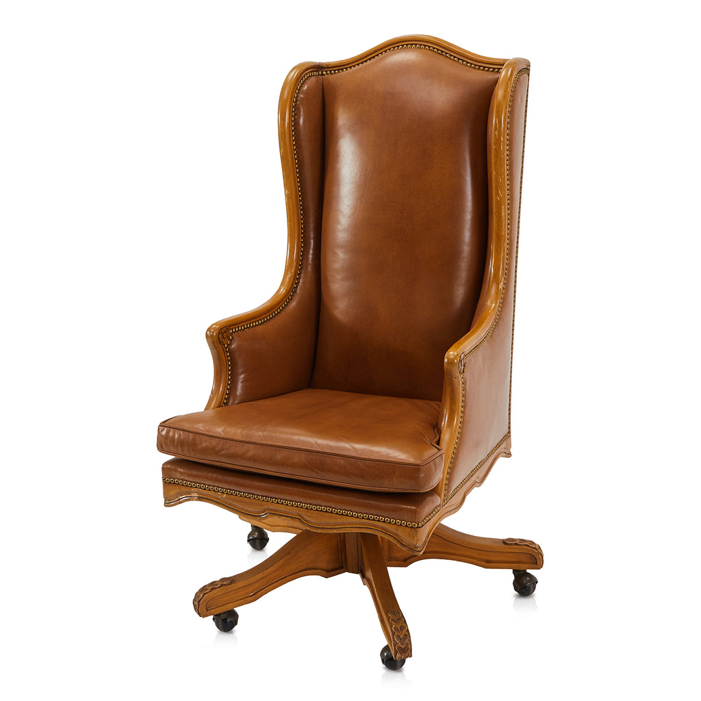 Brown Leather Wingback Executive Chair