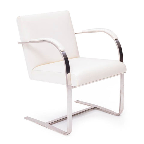 BRNO White and Chrome Dining Arm Chair